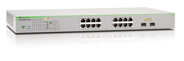 Allied Telesis AT-GS950/16PS-50 Коммутатор Gigabit Ethernet WebSmart 16 х 10/100/1000T + 2 х SFP combo (30 Вт на порт PoE+)